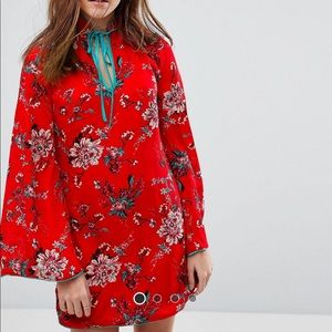 Short Red Floral Shift Dress - romantic -NEW
